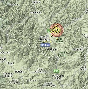 Scosse di terremoto fra Arezzo e Cesena