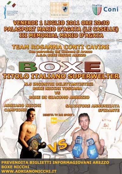 Boxe: Nicchi, il match contro Annunziata sarà ad Arezzo il 1° Luglio