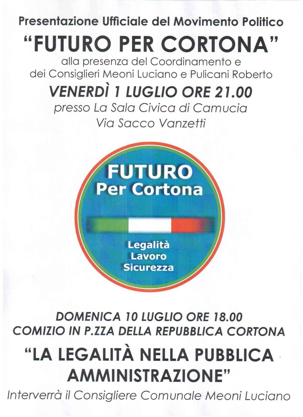 Futuro per Cortona: da gruppo consiliare a un vero movimento politico