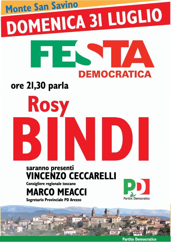 Arriva Rosy Bindi domenica alla Festa Democratica di Monte San Savino