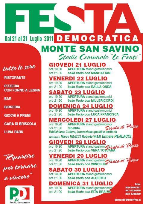Festa Democratica a Monte San Savino