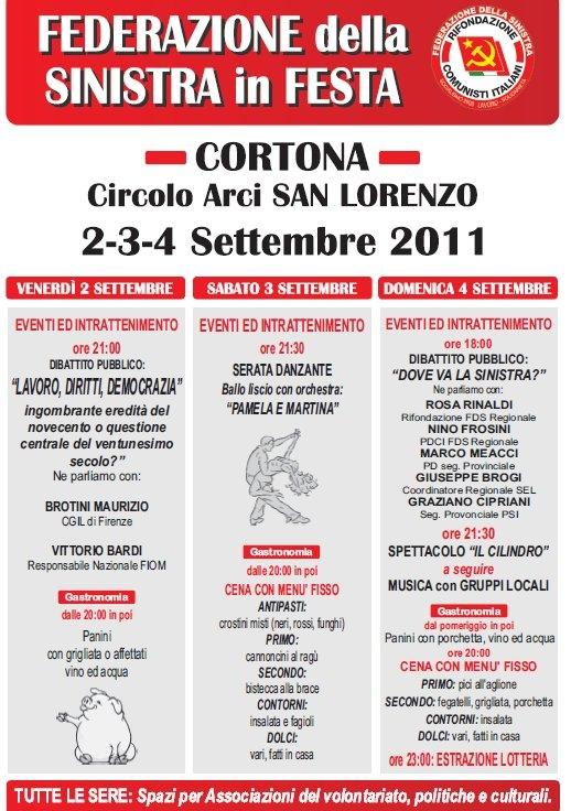 Federazione della Sinistra in Festa a San Lorenzo di Cortona