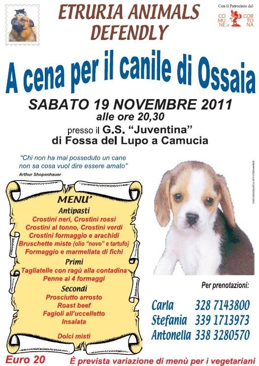 Cena per aiutare il canile di Ossaia