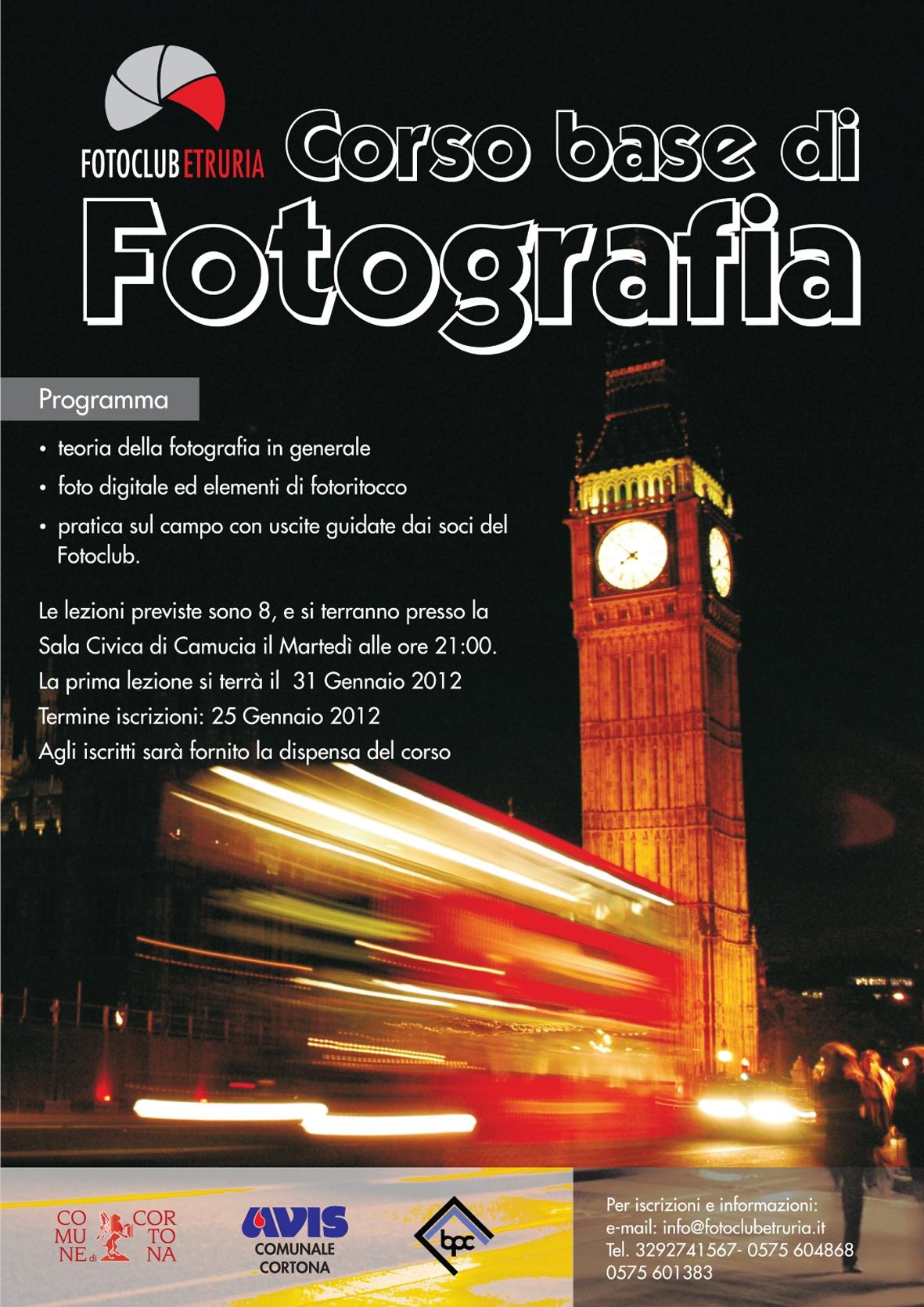 Corso base di fotografia promosso dal FotoClub Etruria