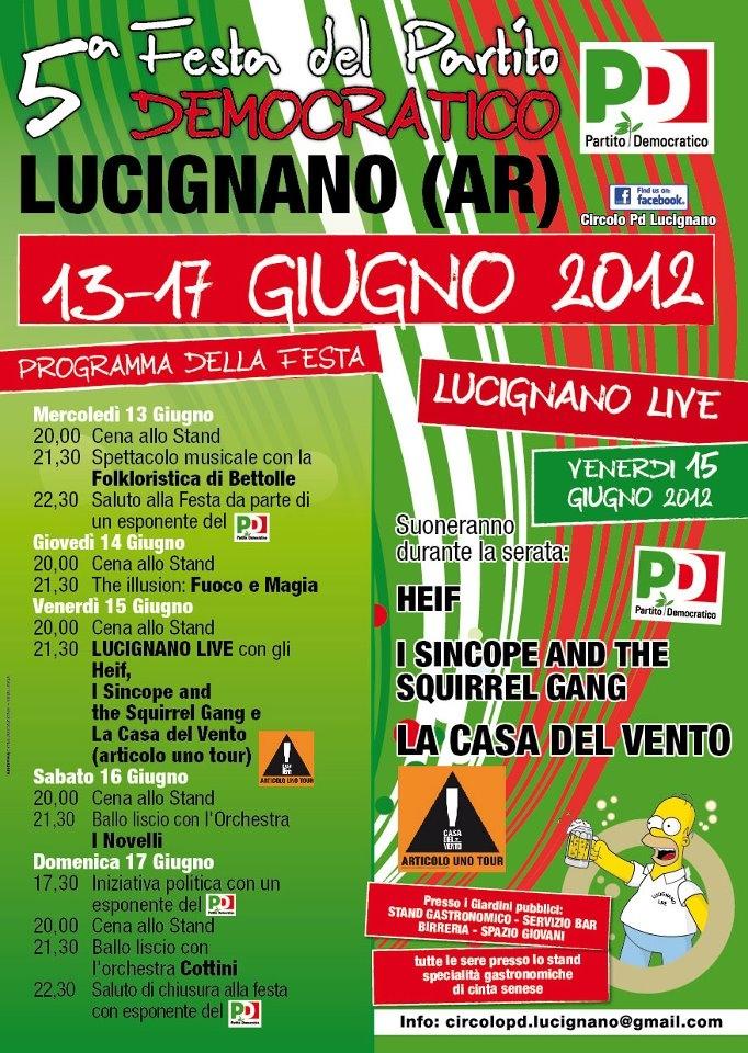Partono le Feste Democratiche: oggi al via quella di Lucignano