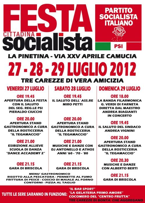 A Cortona dal 27 al 29 Luglio la Festa del PSI