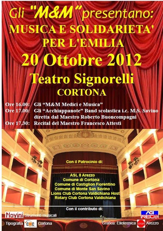 Medici&Musica: solidarietà per l'Emilia al Teatro Signorelli