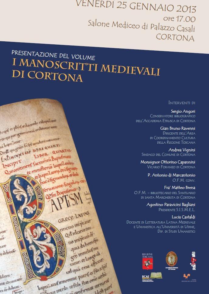 Manoscritti medievali a Cortona: presentazione del volume