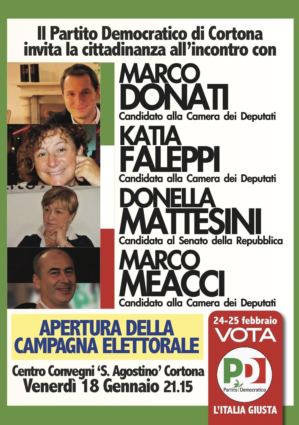 Cortona, via alla campagna elettorale PD coi 4 candidati aretini