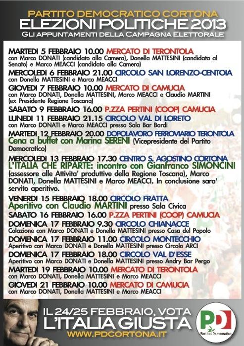 PD Cortona: iniziative per la campagna elettorale
