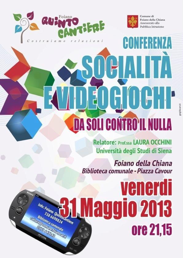 Socialità e videogiochi, conferenza a Foiano