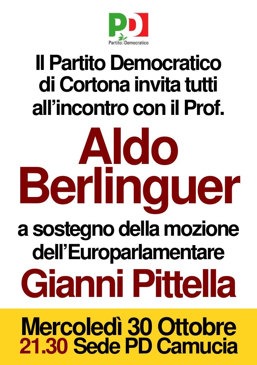 PD Cortona: la mozione Pittella presentata da Aldo Berlinguer