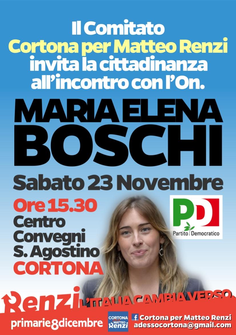 L'On. Maria Elena Boschi a Cortona per il Comitato Renzi