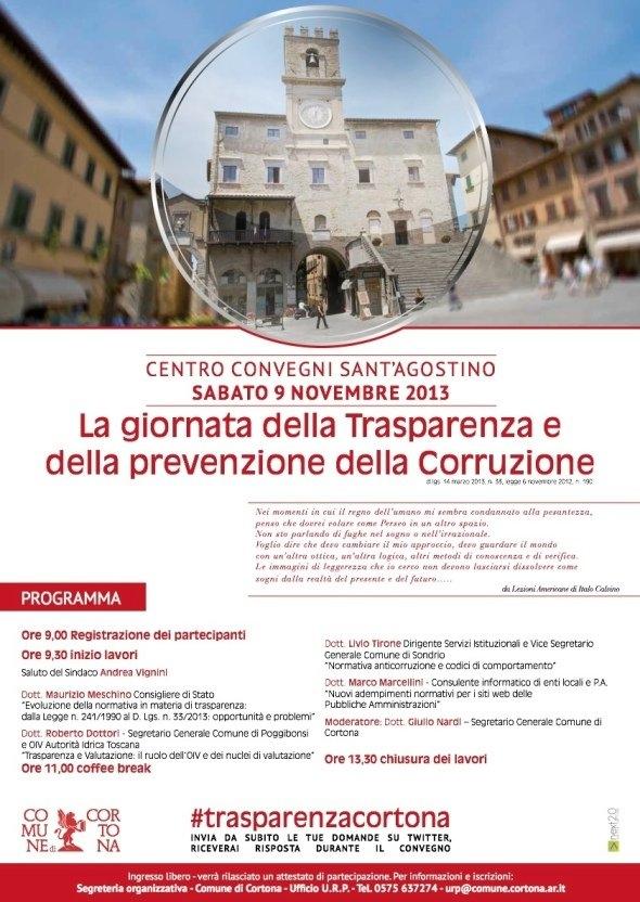 Cortona: Convegno sulla trasparenza e la prevenzione della corruzione