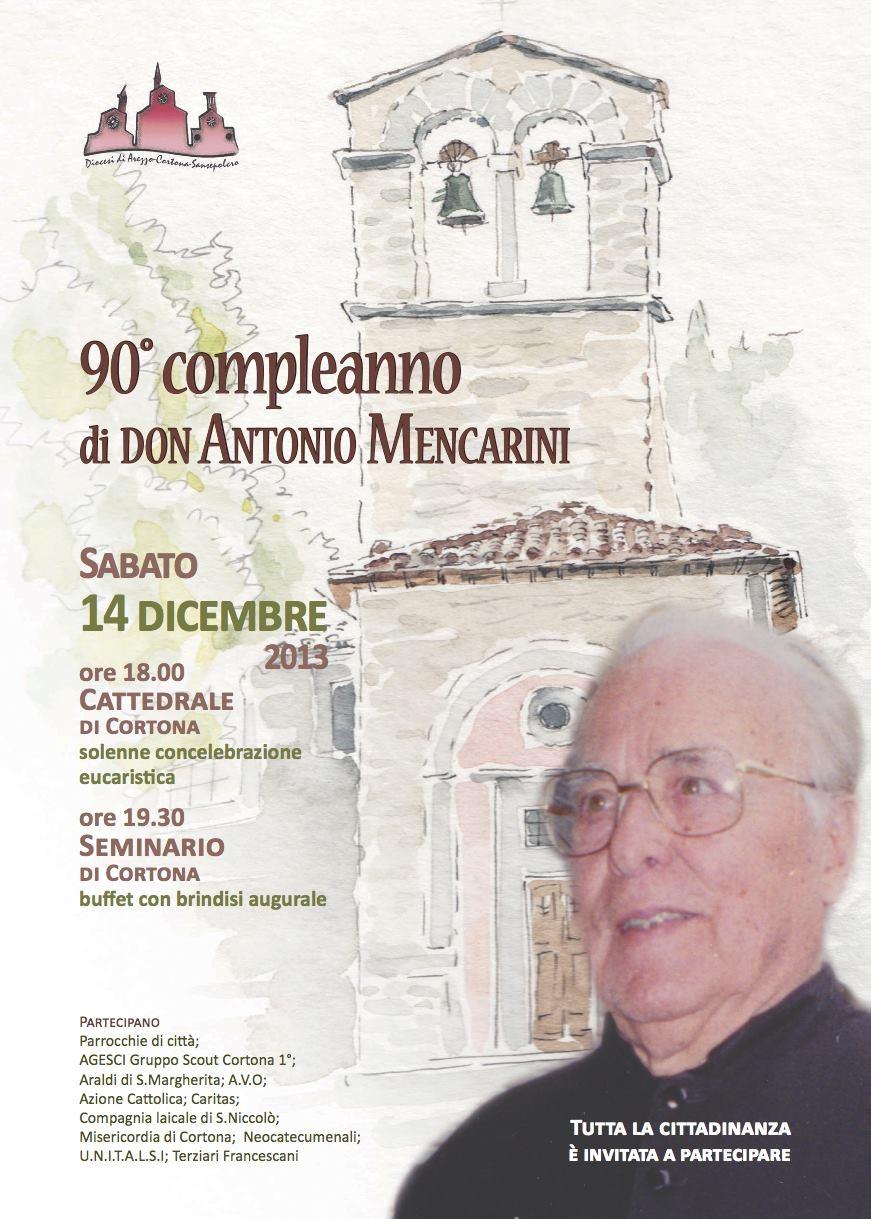 90 anni di Don Antonio Mencarini, grande festa a Cortona