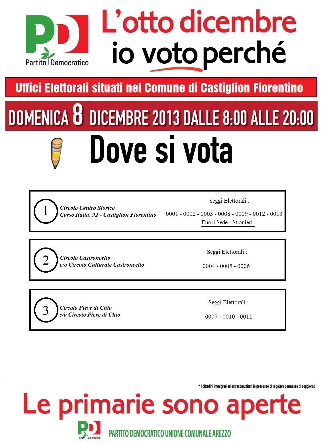 Castiglion Fiorentino: ecco dove votare per le primarie PD