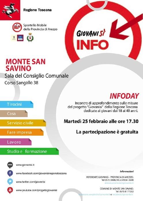 Monte San Savino: InfoDay per Giovani sì martedì prossimo
