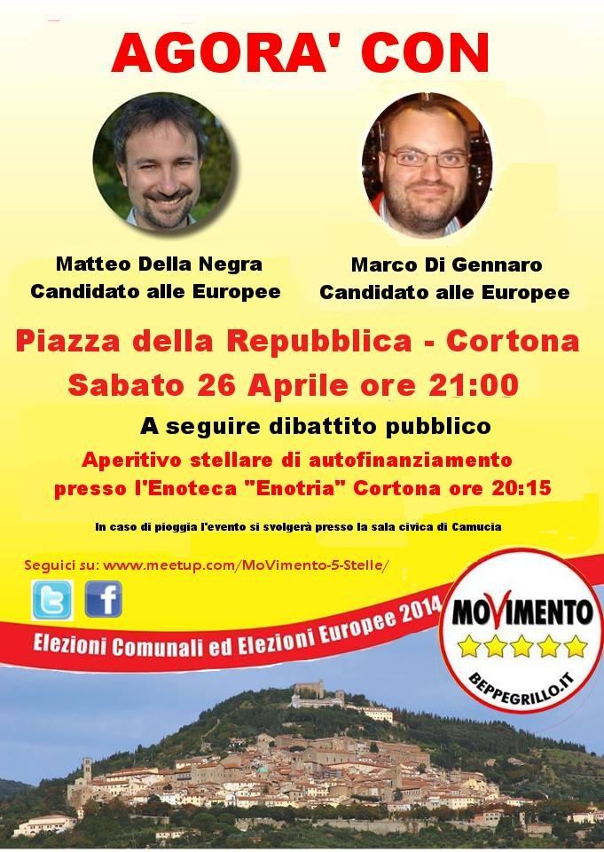 Iniziativa dei 5 Stelle in Piazza a Cortona con i candidati alle Comunali e Europee