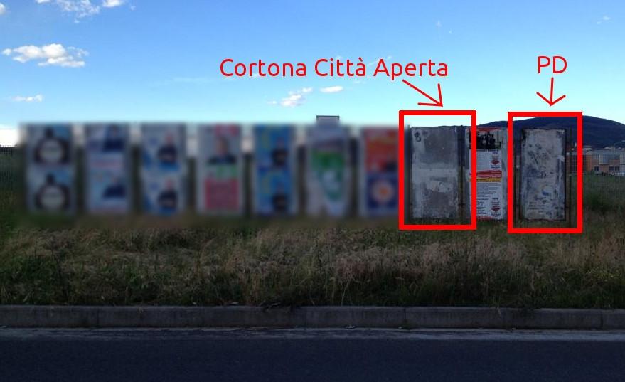 PD Cortona: ancora manifesti strappati. Colpa del vento?