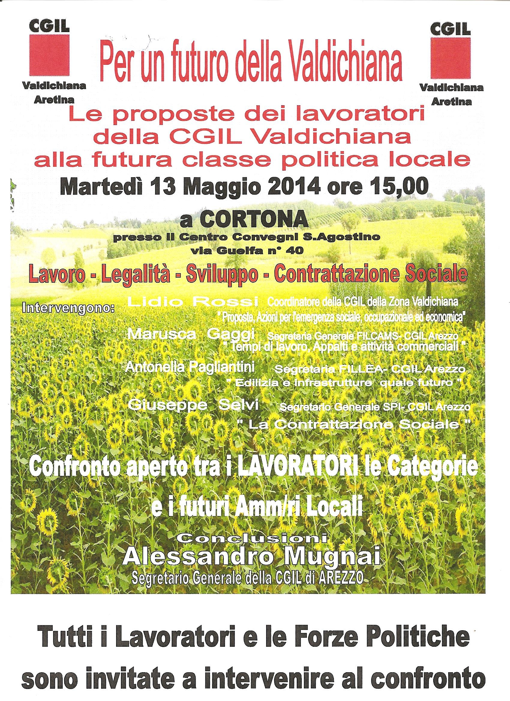 Per un futuro della Valdichiana: incontro della Cgil a Cortona