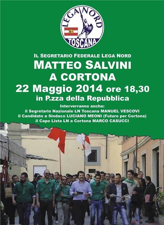 Il Segretario di Lega Nord Matteo Salvini oggi pomeriggio a Cortona