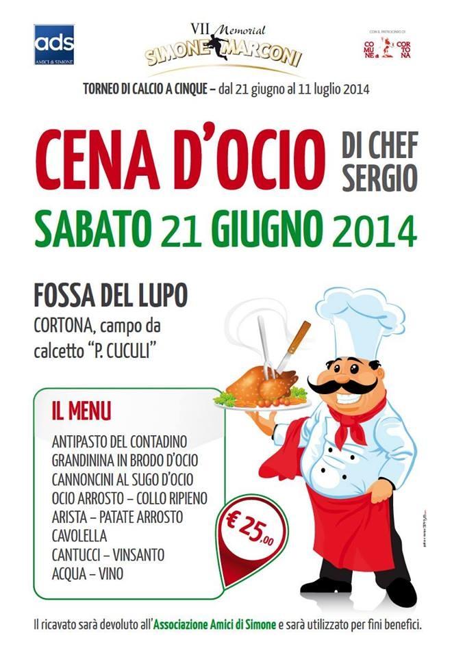 Cena d'Ocio con lo Chef Sergio a Fossa del Lupo: tutto il ricavato andrà in beneficienza