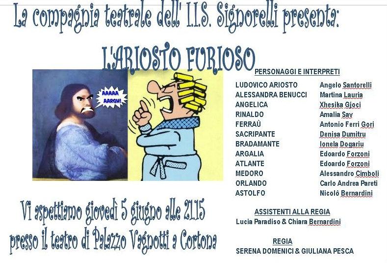 L'Ariosto Furioso: in scena il laboratorio teatrale dell'Istituto Scolastico Signorelli