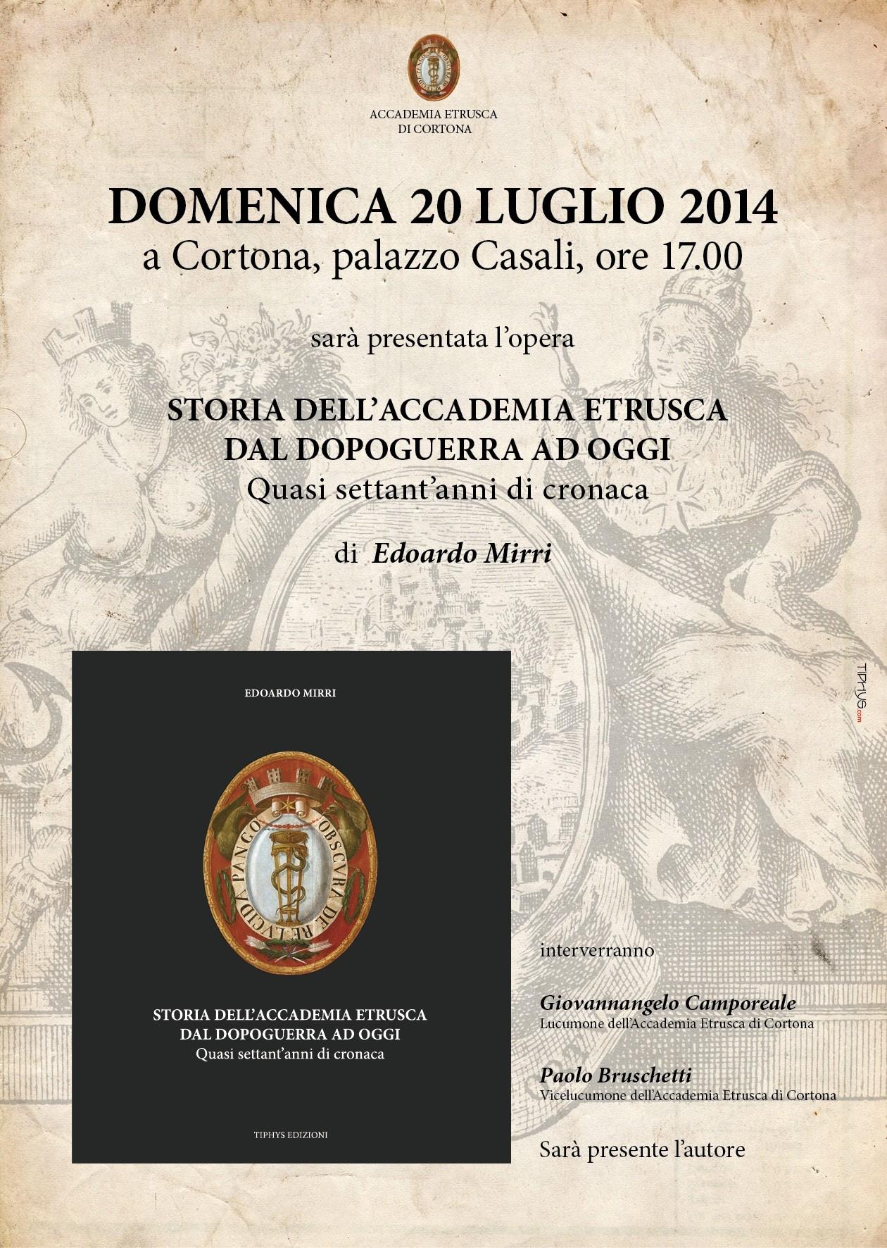 Gli ultimi 70 anni dell'Accademia Etrusca: presentazione del libro di Edoardo Mirri