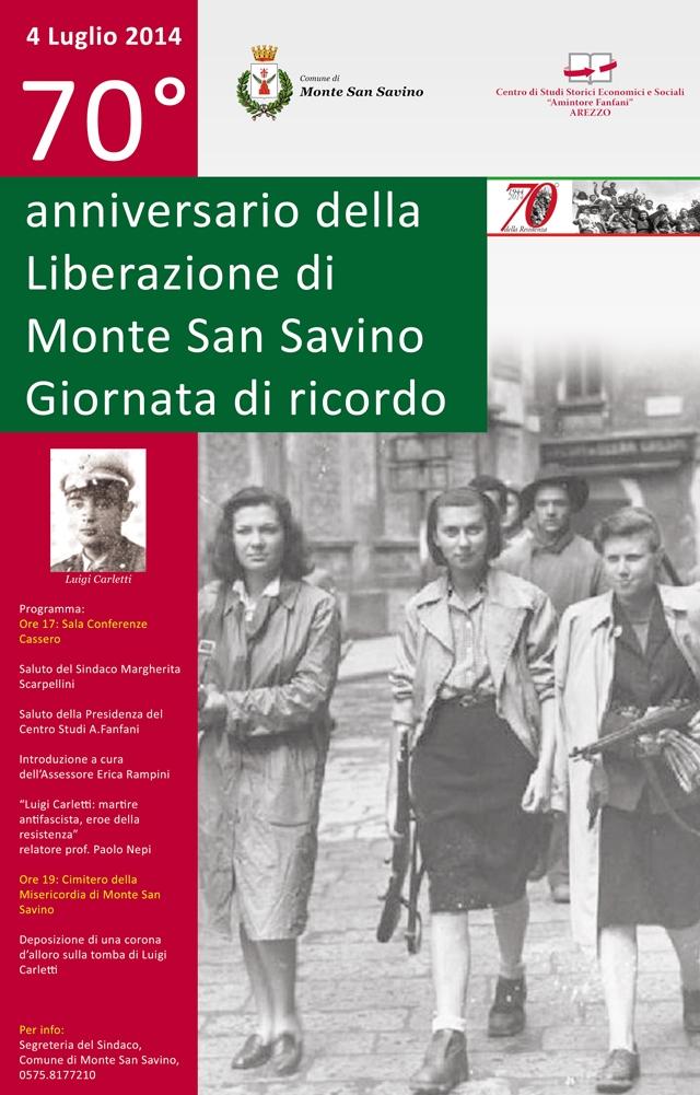 Monte San Savino celebra il 70esimo della Liberazione ricordando Luigi Carletti