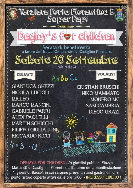 Deejay's for Children, serata di beneficienza a Castiglion Fiorentino
