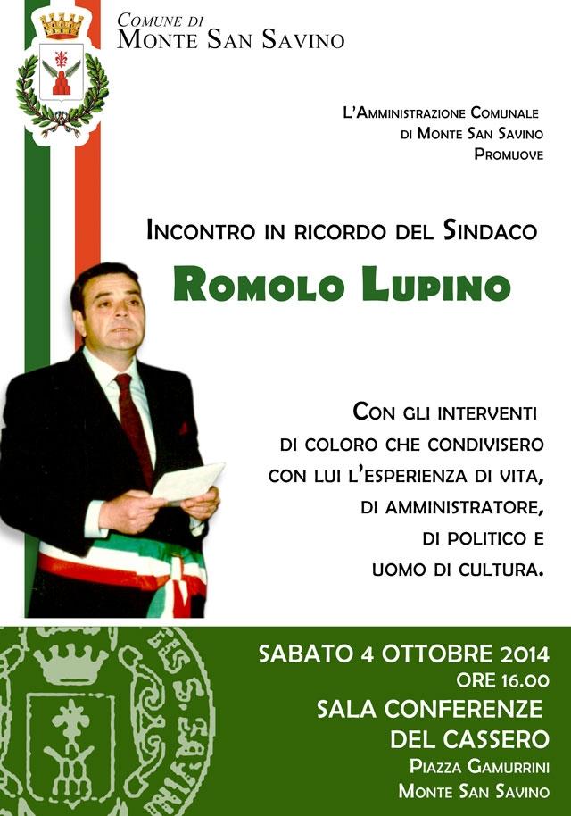 Monte San Savino ricorda Romolo Lupino: incontro pubblico nella Sala Conferenze del Cassero
