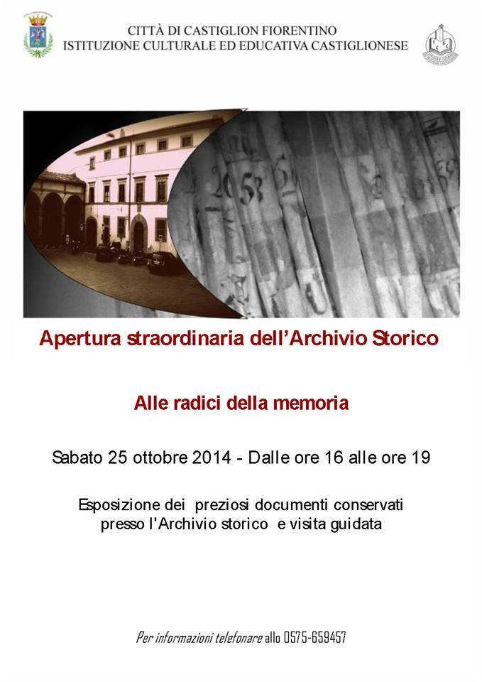 Apertura straordinaria per l'Archivio Storico del Comune di Castiglion Fiorentino