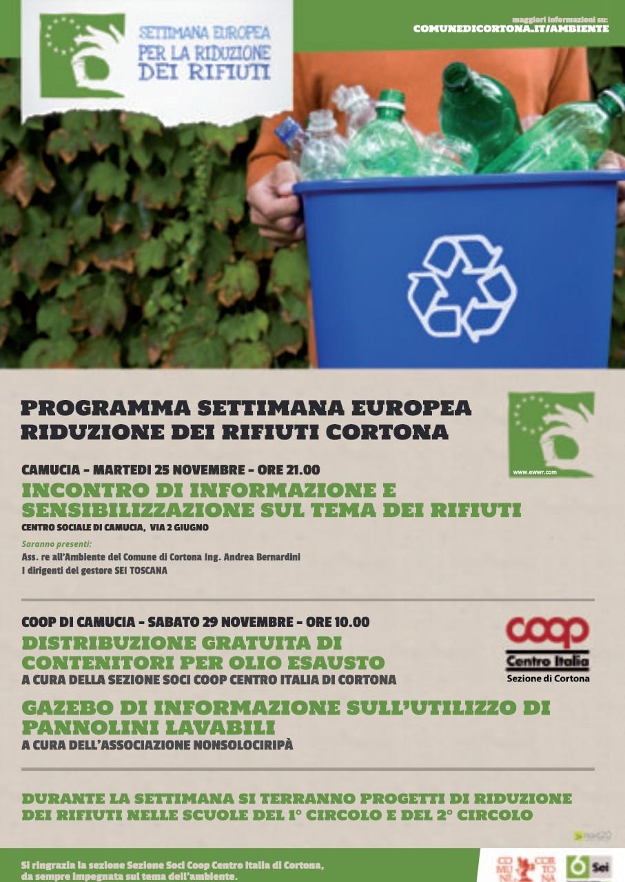 Settimana europea per la riduzione dei rifiuti, Cortona si mobilita