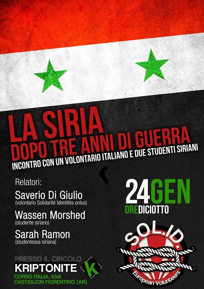 Incontro sulla Siria al Circolo Kriptonite