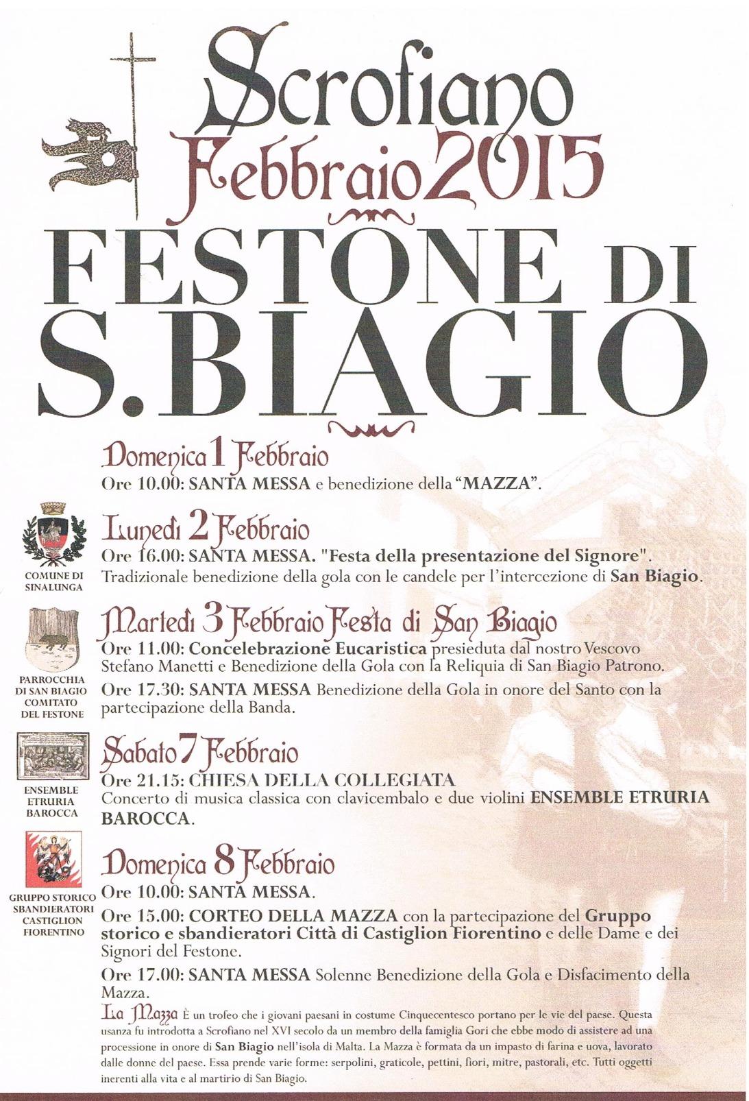 Programma del Festone di San Biagio 2015