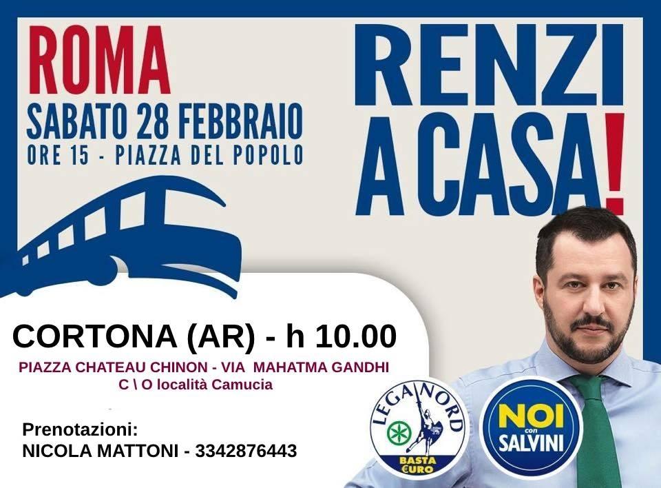 'Renzi a casa!', pullman da Camucia per la manifestazione romana di Lega Nord