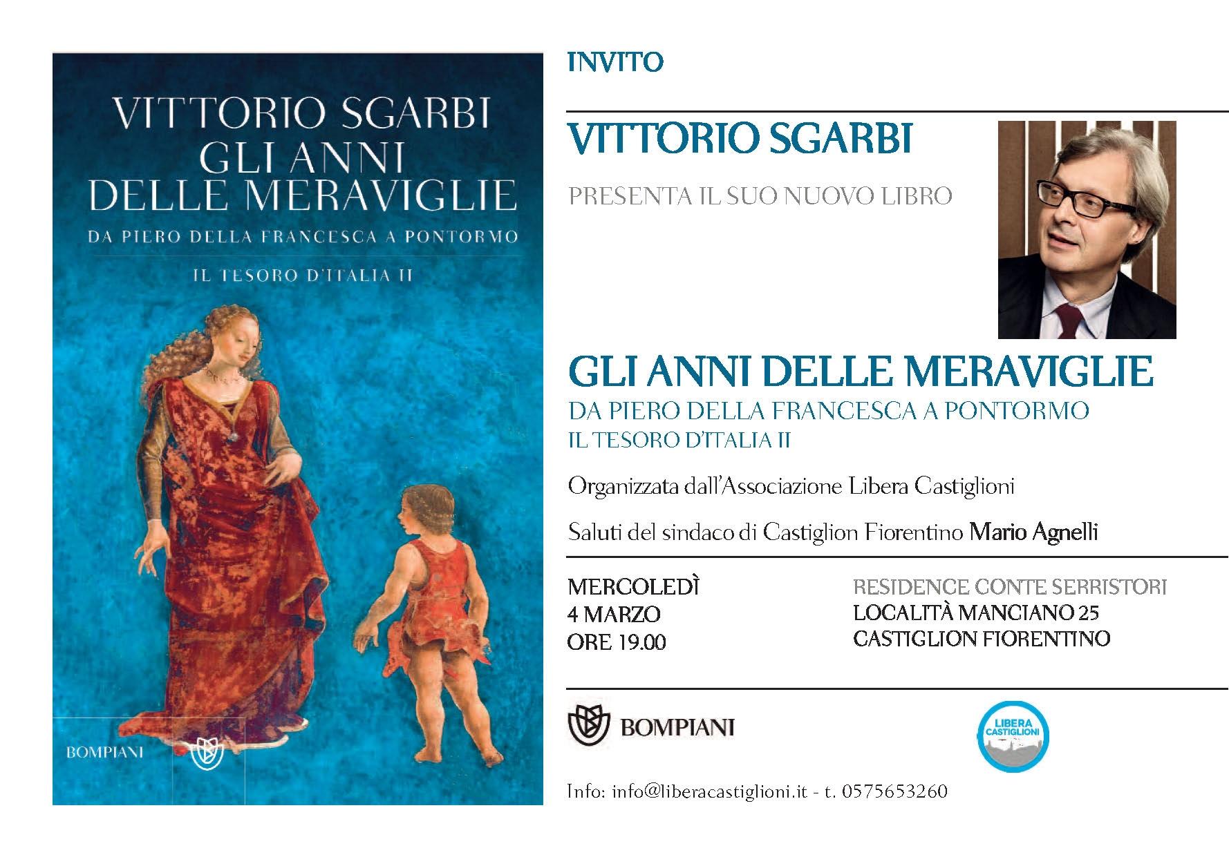Castiglioni, 'Libera' promuove una serata-incontro con Vittorio Sgarbi