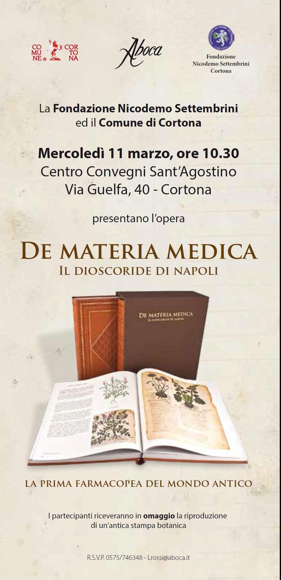 'De materia medica', l'antico codice ripubblicato e presentato a Cortona