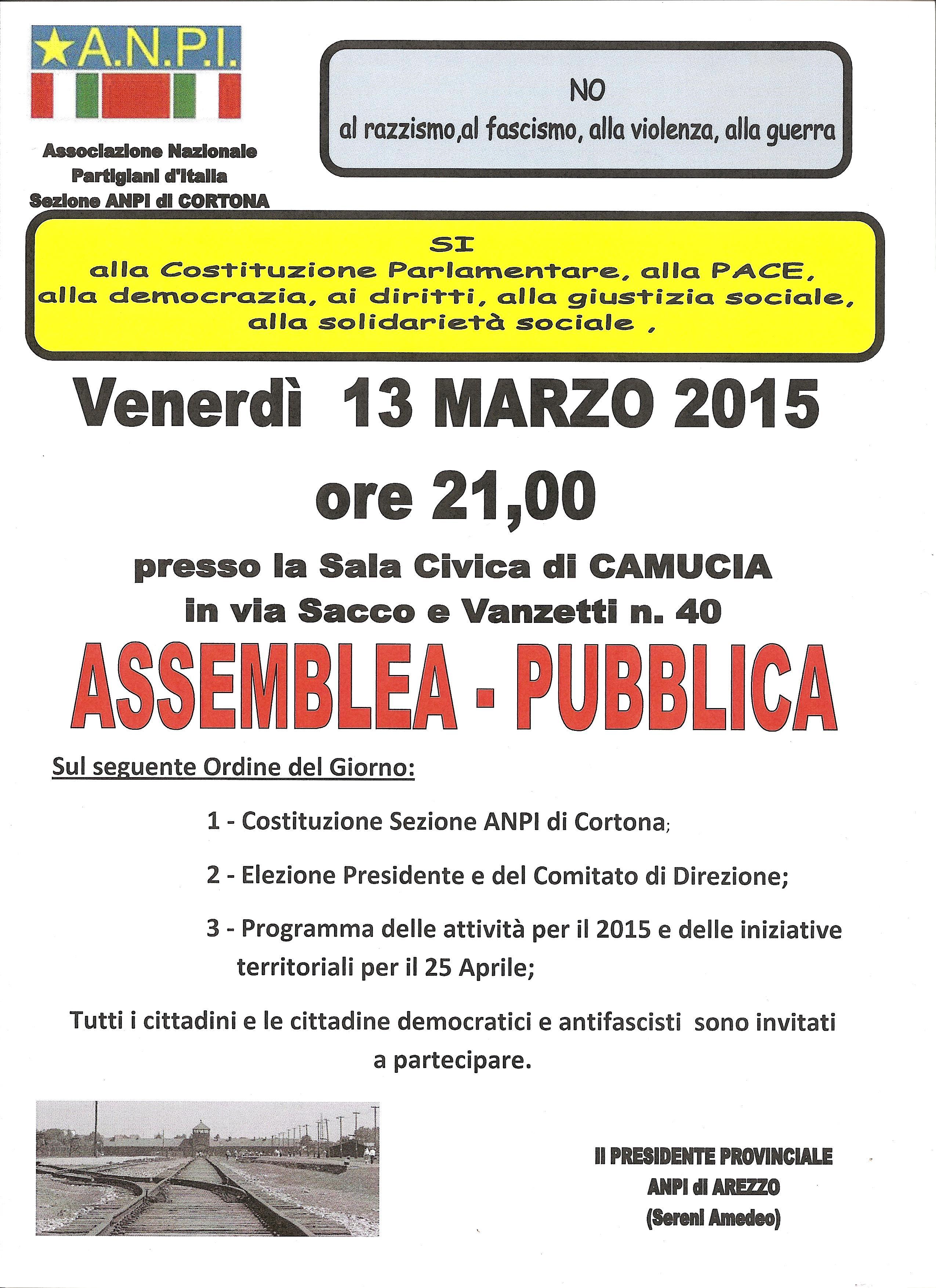Nasce la sezione ANPI a Cortona, venerdì 13 Marzo l'assemblea fondativa