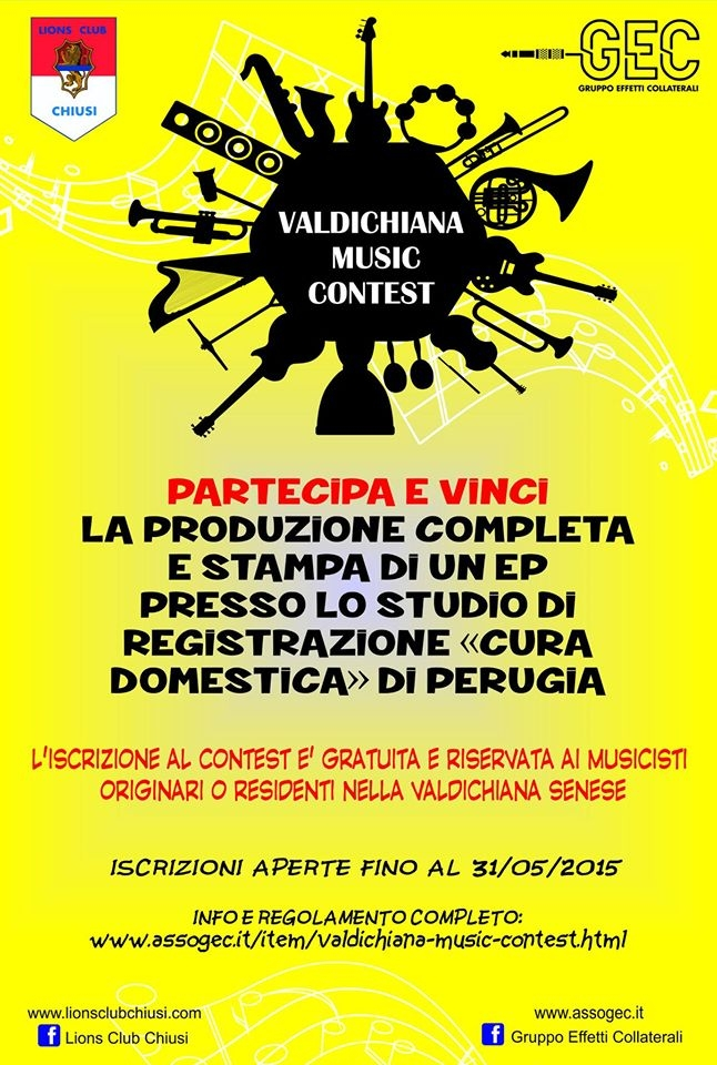 'Valdichiana music contest', concorso promosso dal Lions Club Chiusi