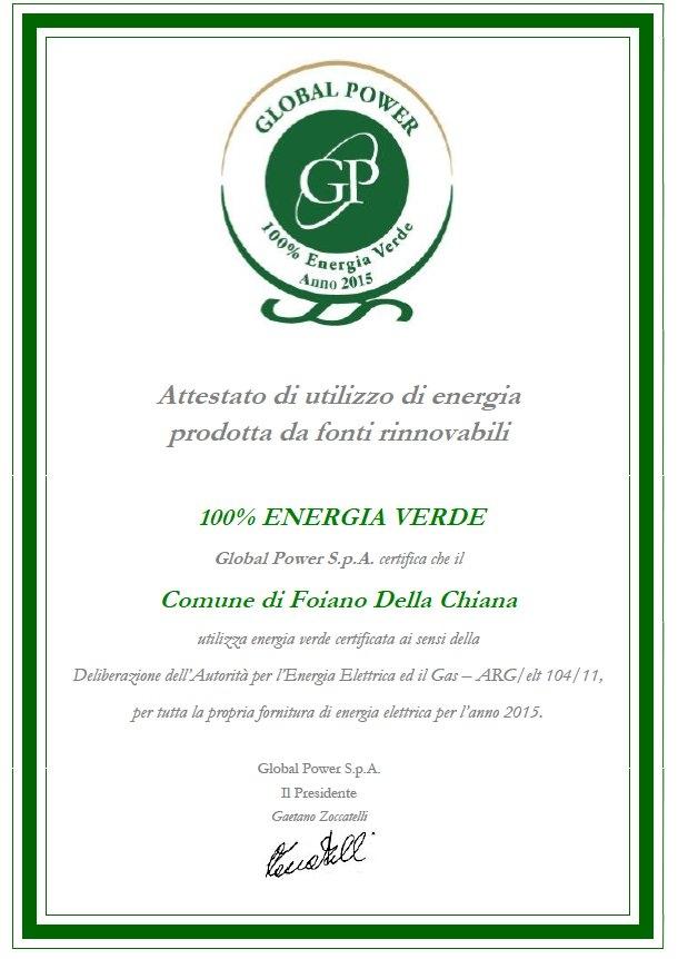 Foiano, il Comune 100% verde