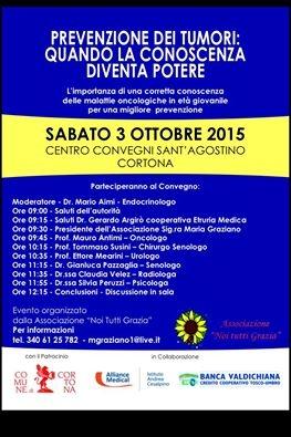 Prevenzione dei tumori, 'Noi tutti Grazia' promuove convegno a Cortona