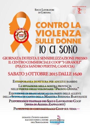 Un sabato contro la violenza sulle donne al Centro Commerciale 'I Girasoli' di Camucia