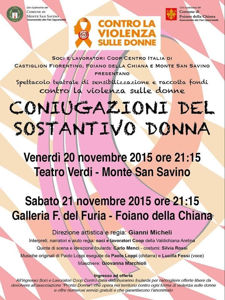 'Coniugazioni del sostantivo donna', spettacolo teatrale in due date, a Monte San Savino e Foiano