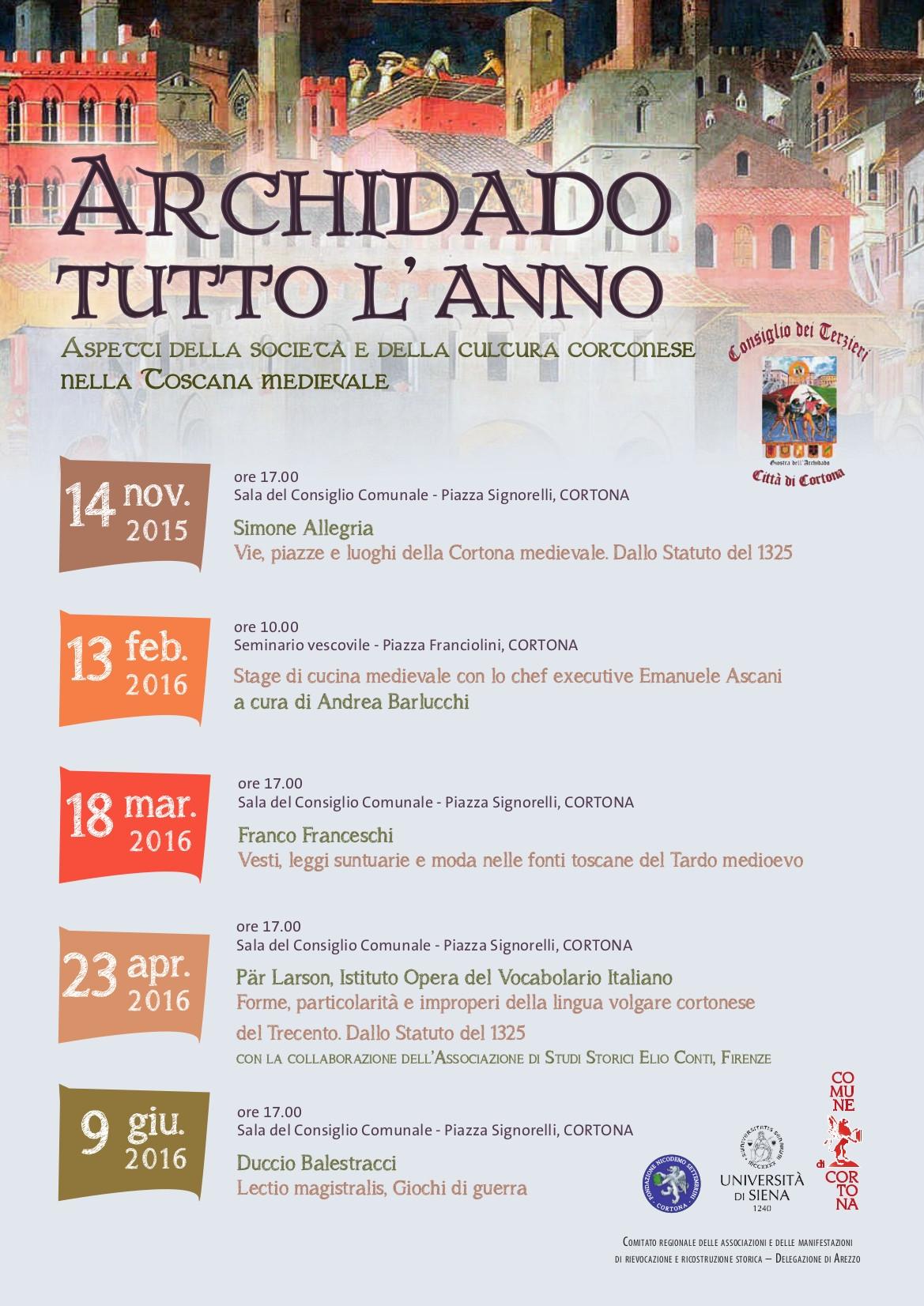 'Archidado tutto l'anno', un ciclo di conferenze sulla storia medievale di Cortona