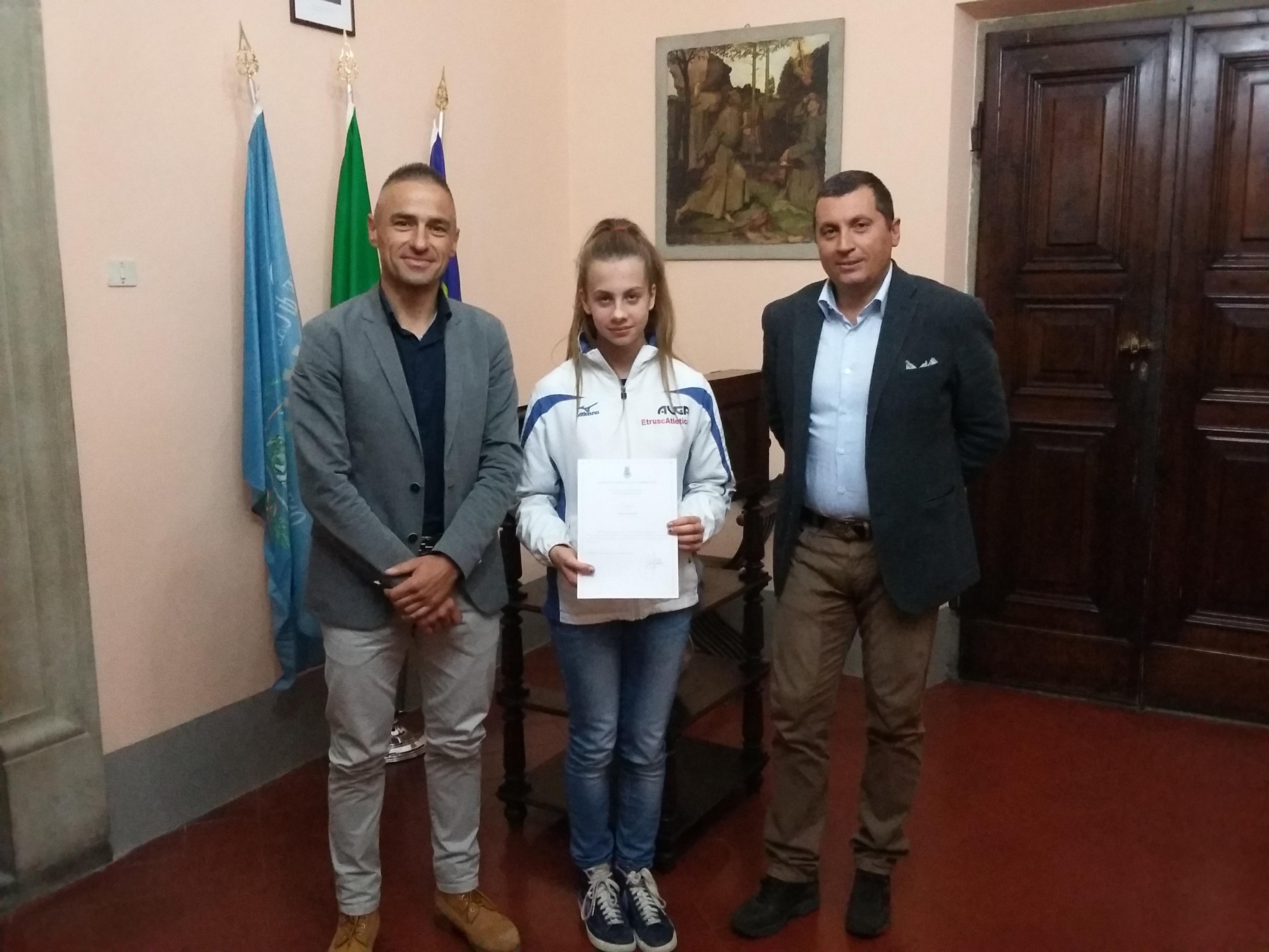 Riconoscimento a Giulia Mazzini, giovane atleta castiglionese