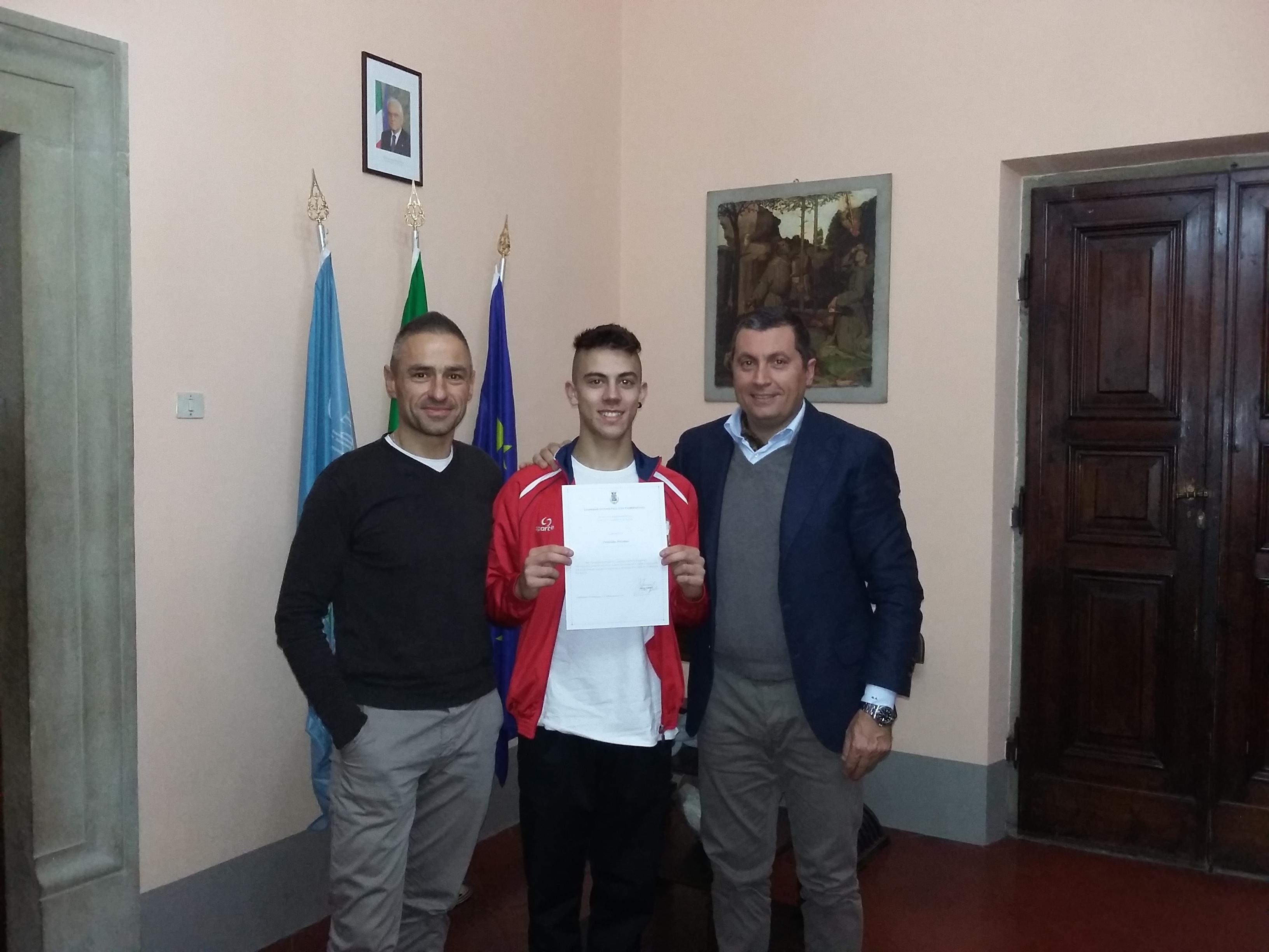 Cristian Polvani, bronzo agli Italiani di Ginnastica, ricevuto in Comune