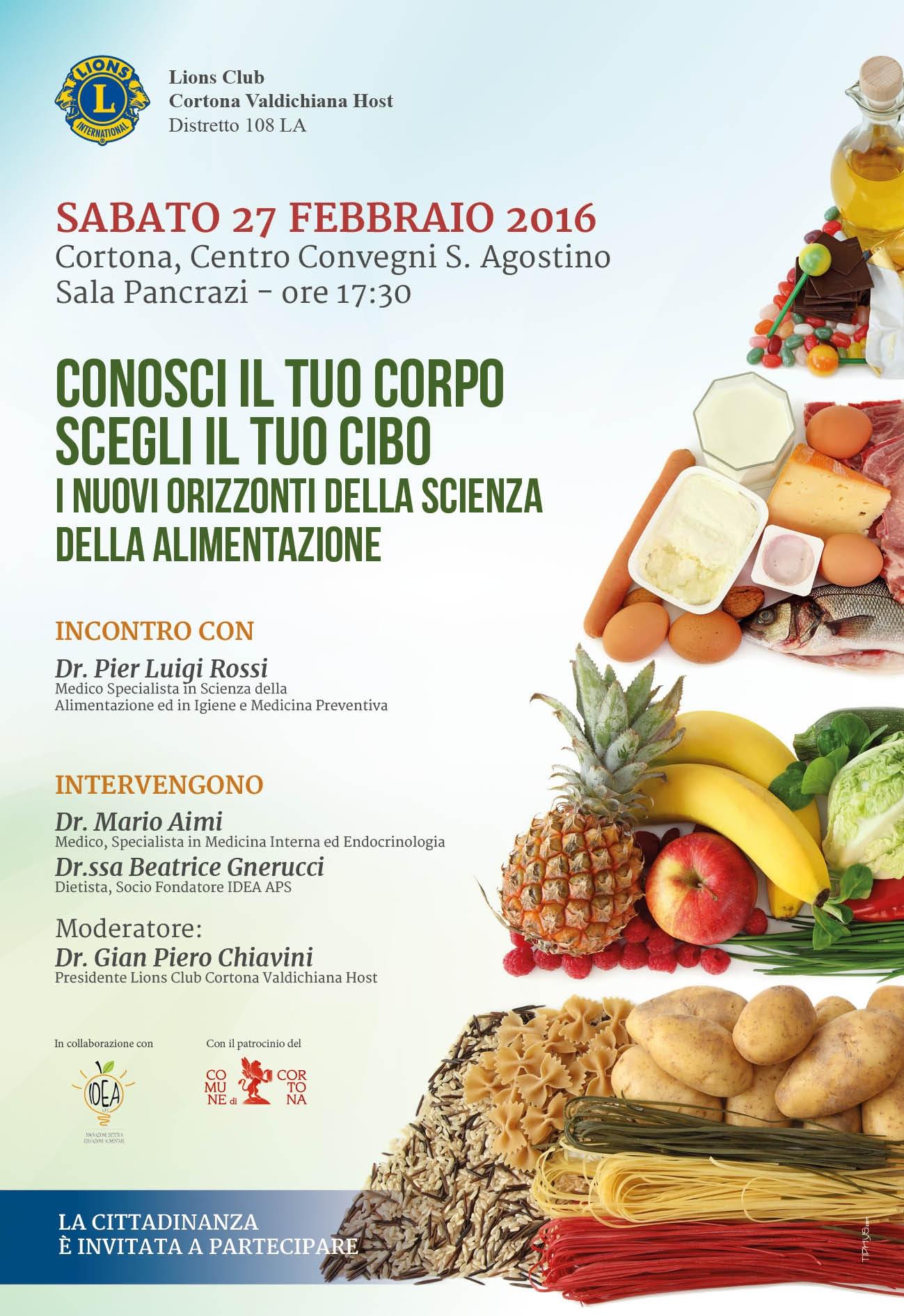 Conosci il tuo corpo, scegli il tuo cibo, conferenza a Cortona promossa dal Lions Club