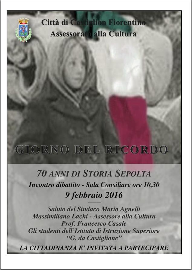 Giorno del ricordo, incontro - dibattito a Castiglion Fiorentino