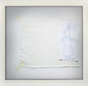 4. Ogi Collage Clara 2016 disegno e ricamo su carta e tessuto cm 40x40